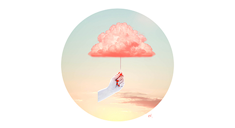 cé. cecilereverdy, nuage, rose, cloud, pinkcloud candyfloss, sunrise, surrealist, collage, collagist, collageart, artcollage, collageartwork, contemporycollage, surrealcollage, analogcollage, photomontage, photomanipulation